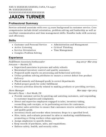 amazon fulfillment center fulfillment associate resume sample
