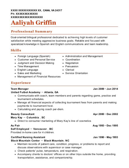 Resume for au pair