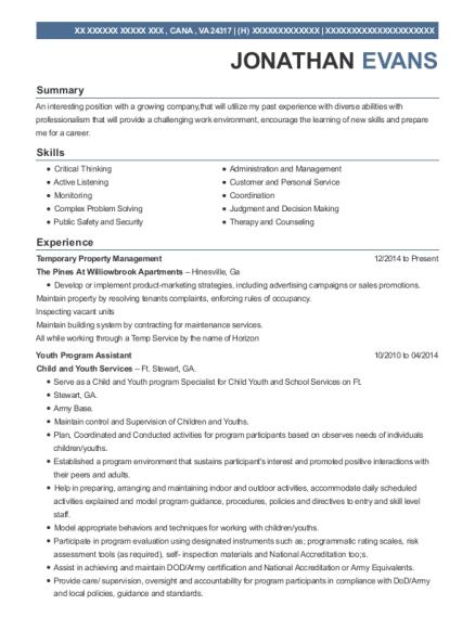 Youth Mentor Job Description For Resume