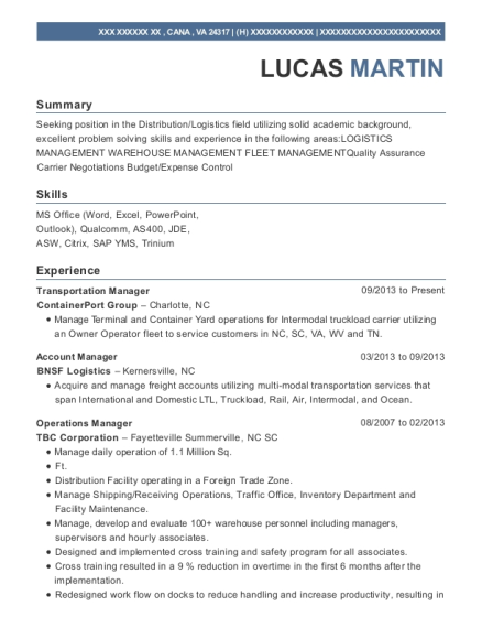 View Resume. Transportation Manager