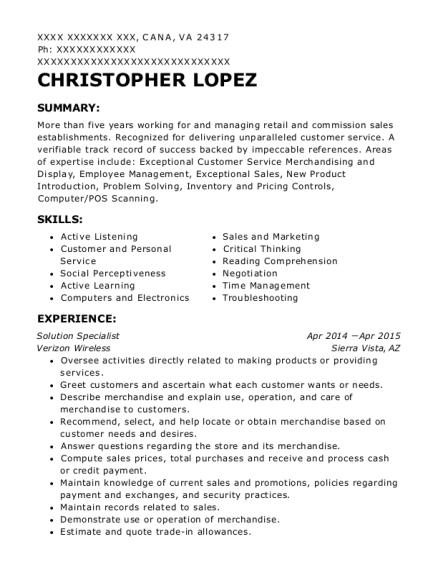verizon wireless solution specialist resume sample