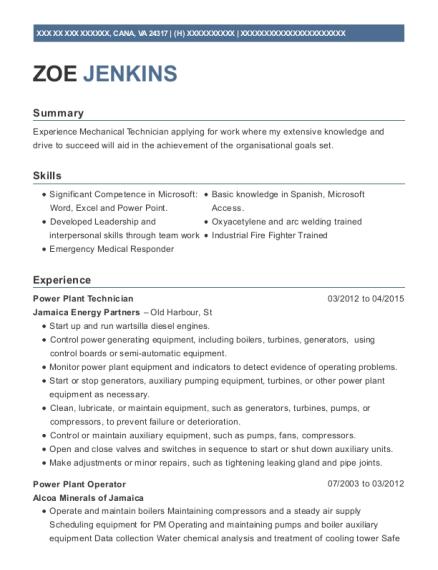 View Resume. Power Plant Technician
