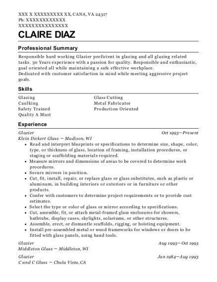 c z glass glazier resume sample fremont california resumehelp