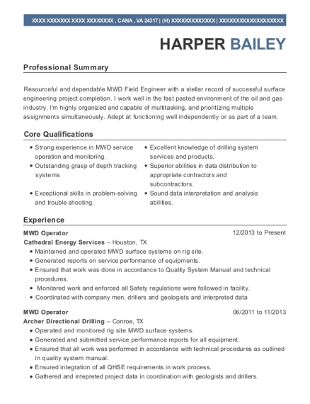 Cathedral Energy Services Mwd Operator Resume Sample - Cana Virginia ...