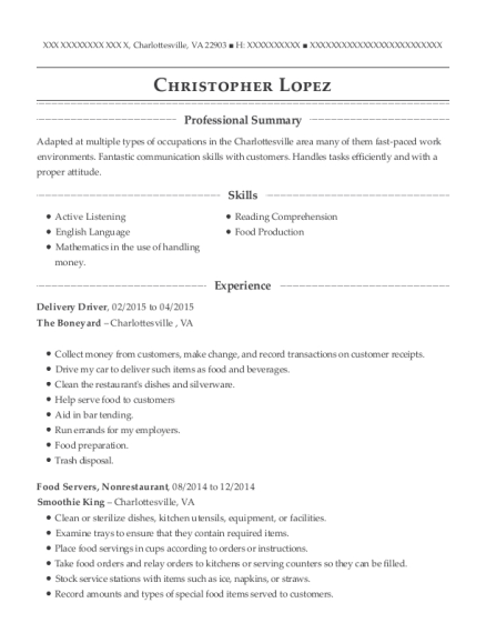 Christopher Lopez  Delivery Driver Resume