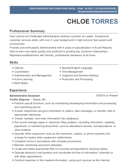 View Resume. Administrative Assistant