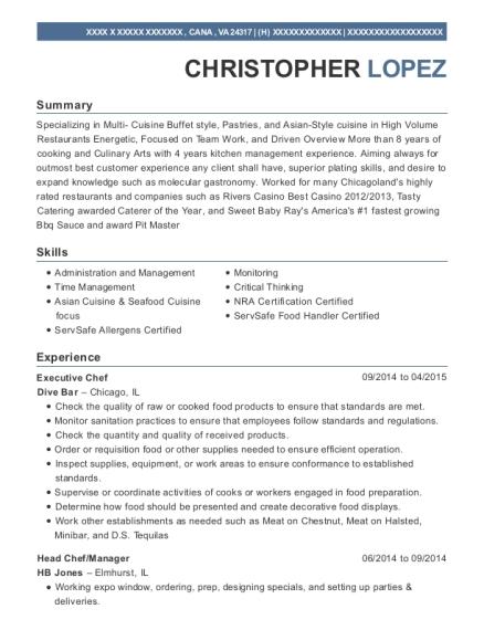 View Resume. Executive Chef