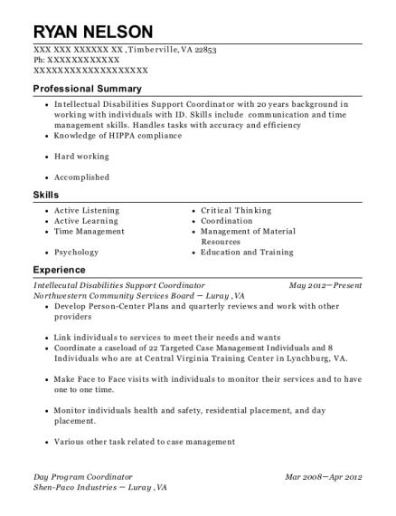 view resume intellecutal disabilities support coordinator