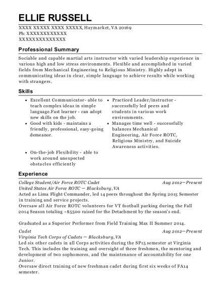 Ellie Russell  Virginia Tech Resume