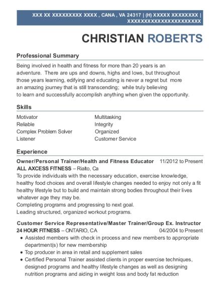 Best Assistant Fitness Manager Resumes | ResumeHelp