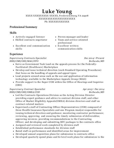 hhs supervisory contracts specialist resume sample