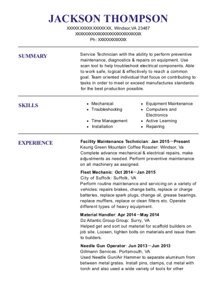 Jackson Thompson  Facility Maintenance Resume