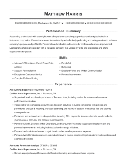 View Resume Accounting Supervisor