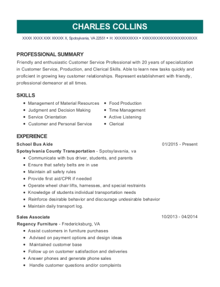 Title I Instructional Aide , School Bus Driver. Customize Resume · View  Resume