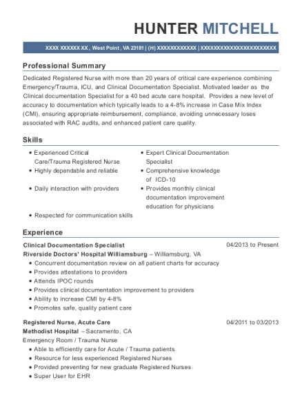 hunter mitchell - Clinical Documentation Specialist Sample Resume