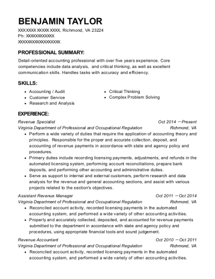 benjamin taylor - Professional Accounting Resume