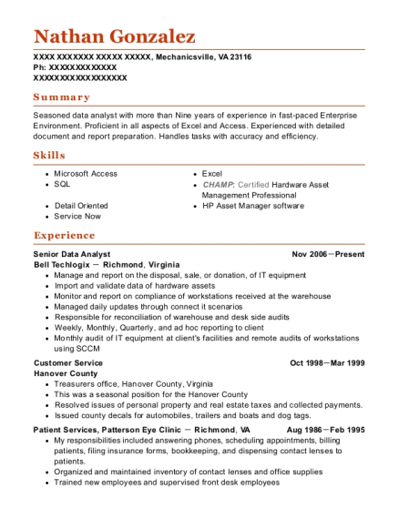 View Resume Senior Data Analyst