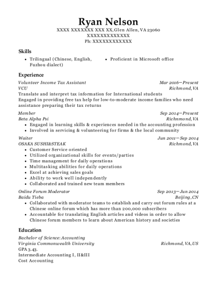 tax assistant resumes