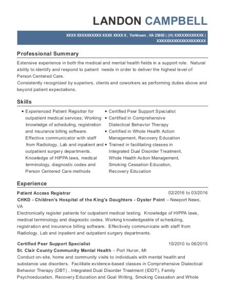 best certified peer support specialist resumes