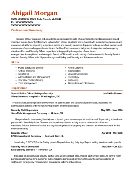 District commander resume