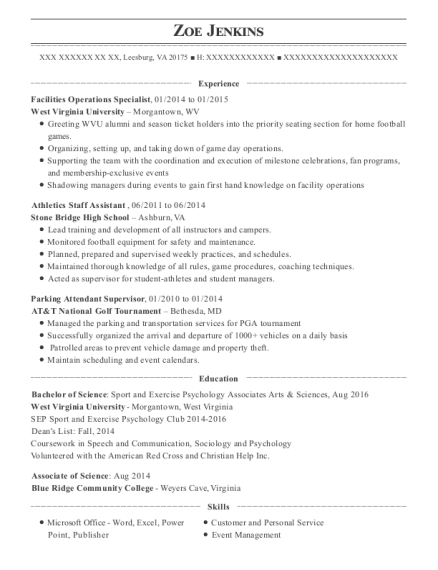 view resume facilities operations specialist