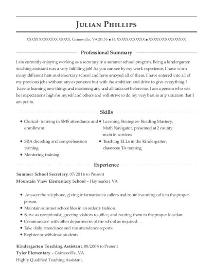 best summer school secretary resumes resumehelp