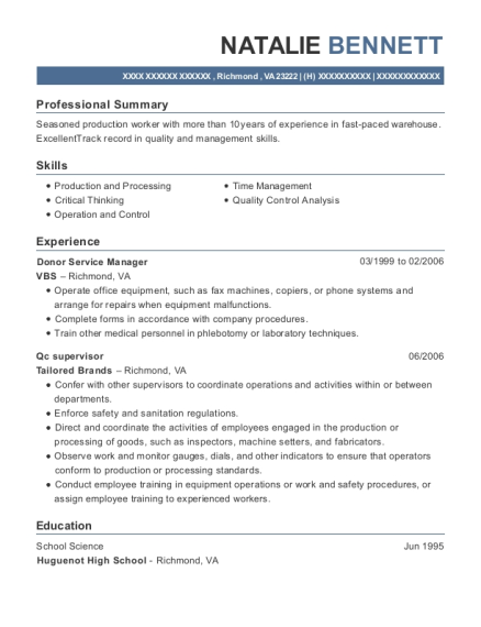 Vbs Donor Service Manager Resume Sample - Richmond Virginia | ResumeHelp