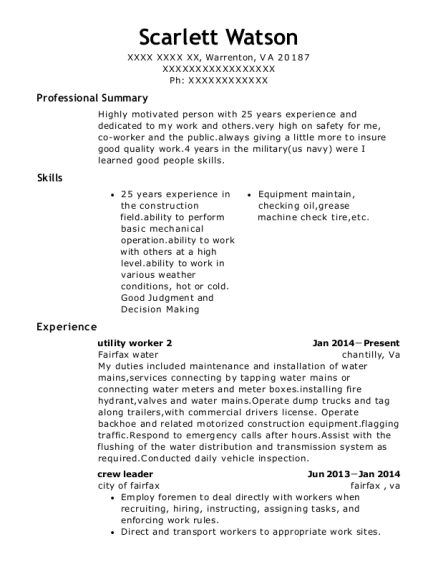 Best Utility Worker 2 Resumes