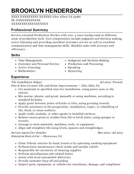 View Resume. Tile Installation Helper