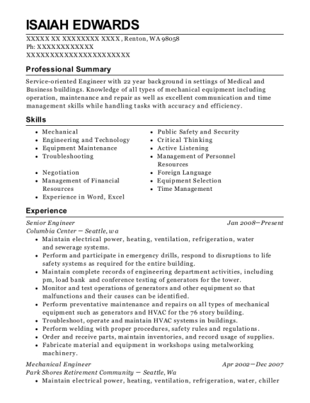 maintenance engineer resumes