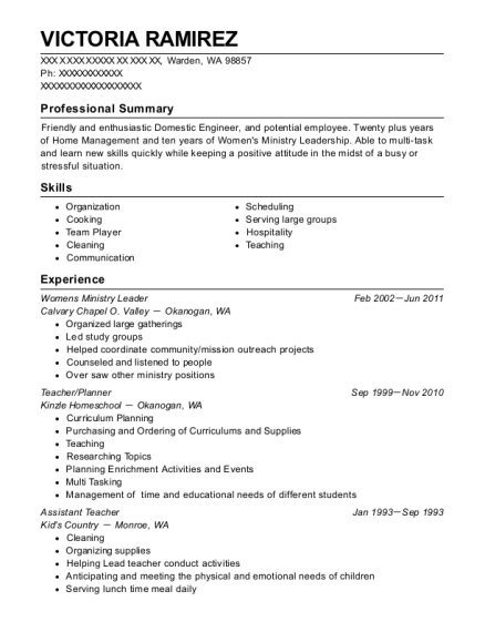 calvary chapel o valley womens ministry leader resume sample