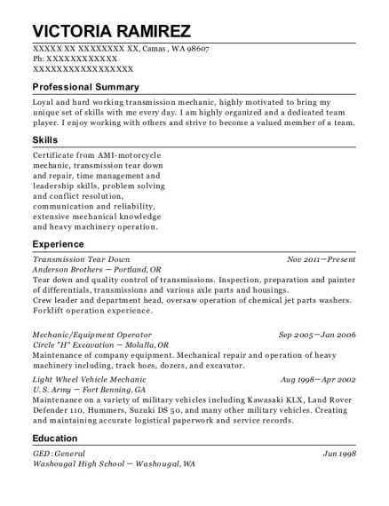 anderson brothers transmission tear down resume sample camas