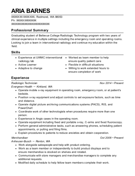 Best Radiologic Technician Resumes | ResumeHelp