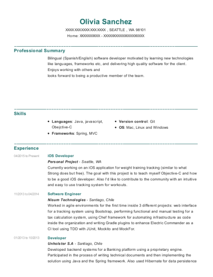 view resume ios developer