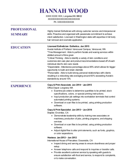 Office Depot Copy & Print Associate Resume Sample - Longview ...