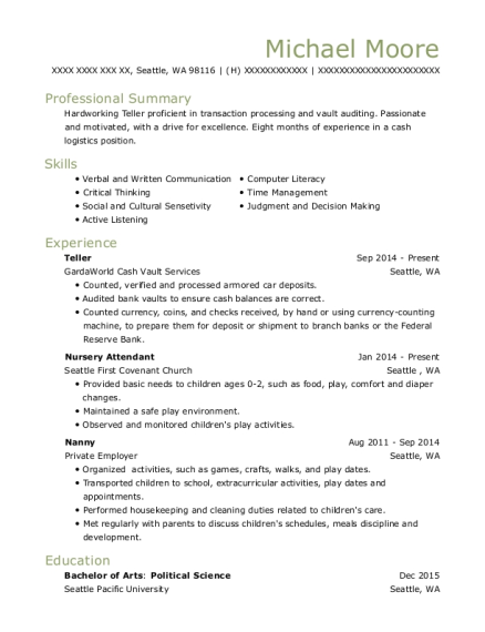 michael moore - Nursery Attendant Sample Resume