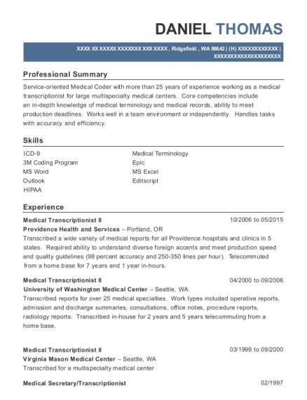 Daniel Thomas  Medical Transcriptionist Resume