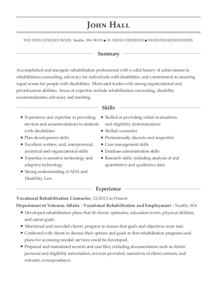 Vocational Rehabilitation Counselor Customize Resume View