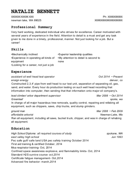 Ensign Energy Assistant Oil Well Head Test Operator Resume Sample ...