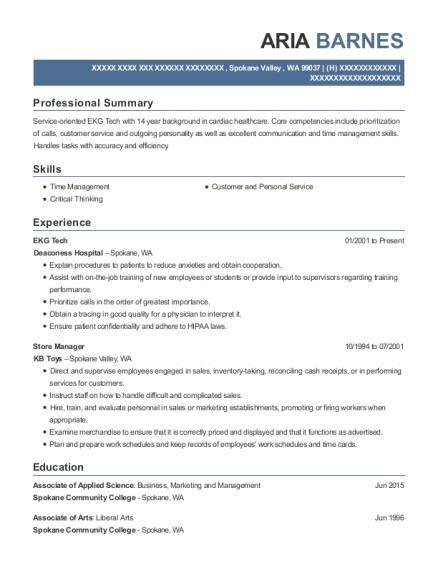 View Resume EKG Tech
