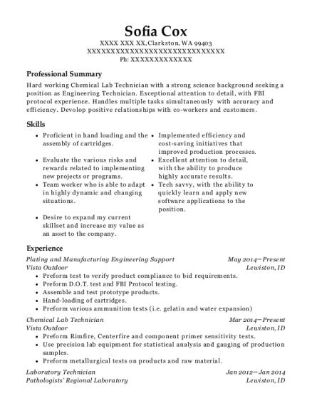 Praxair Chemical Lab Technician Resume Sample - Downey California ...