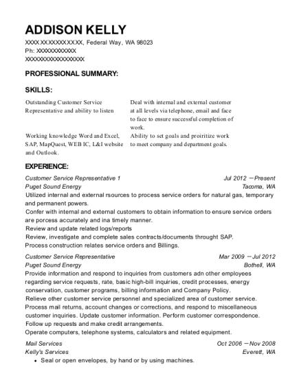 Puget Sound Energy Customer Service Representative 1 Resume Sample ...
