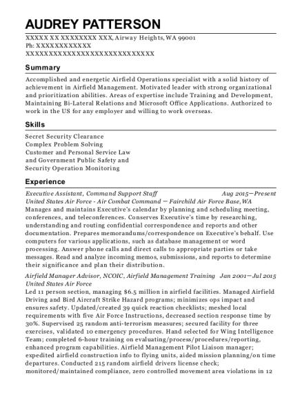 Best Airfield Manager Advisor Resumes | ResumeHelp
