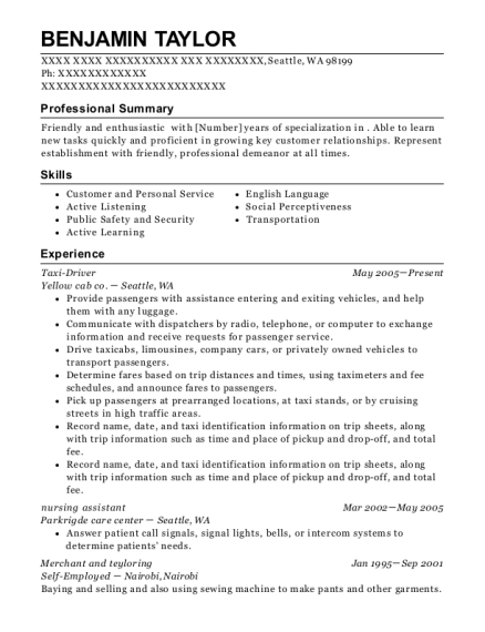 People Also Search For. Customize Resume · View Resume. Taxi Driver