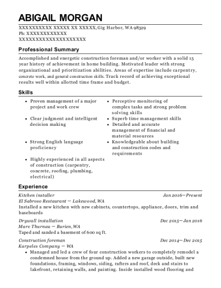 journeyman drywall finisher general construction worker customize resume view resume