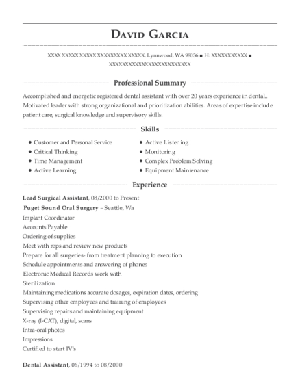 View Resume Lead Surgical Assistant