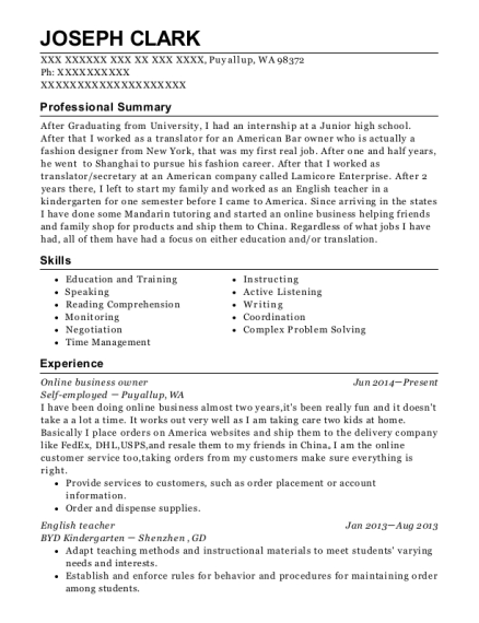 best mandarin teacher resumes