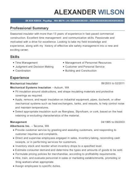 Best Mechanical Insulator Resumes | ResumeHelp