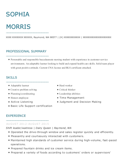 Sophia Morris  Pet Sitter Resume