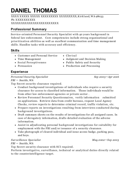 Best Personnel Security Specialist Resumes | ResumeHelp